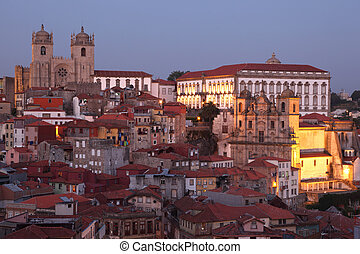 The old town of Porto - Ribeira - at dusk, Portugal