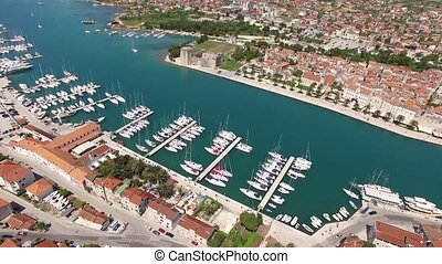 The old town of Trogir, near Split, Croatia. Aerial...