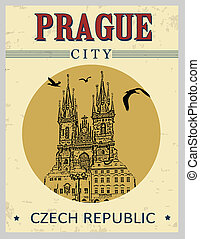 The old town square from Prague poster