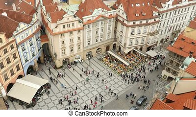 The Old Town Square from up down perspective in Prague in a sunny day in autumn