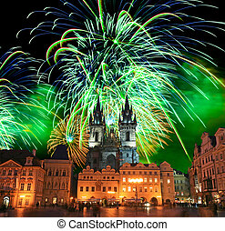 The Old Town Square in Prague City with a firework display...