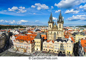 Old Town Square in Prague - The Old Town Square in Prague, ...