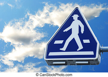 traffic sign pedestrian crossing on sky