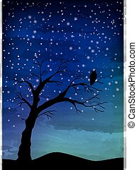 The old tree and the bird on the night sky