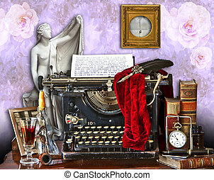 Mishmash of different paraphernalia, tools, gargets and a classical statue around an old typewriter writing with faded characters in a room with floral wallpaper