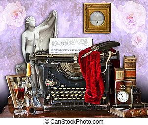 the old typewriter - Mishmash of different paraphernalia,...