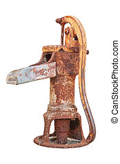 The old water pump. On a white background.