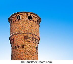 The old water tower of bricks.