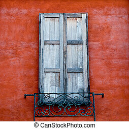 The Old window on wall background