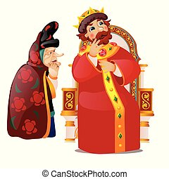 The old woman persuades the king to think. Characters of...