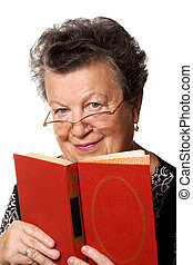 old woman with the red book