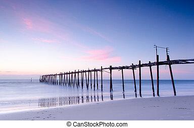 The old wood bridge before sunset.