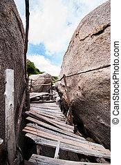 The old wooden bridge of Koh Nang Yuan