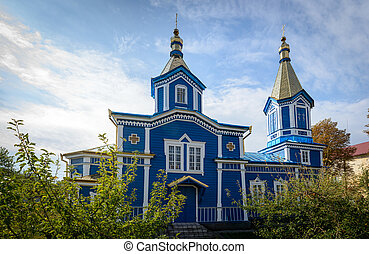 The old wooden church in the village. Moldova