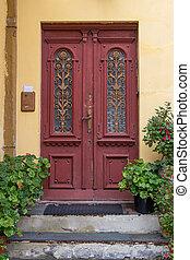 The old wooden door background texture for design