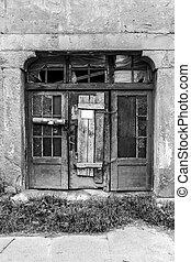 The old wooden door