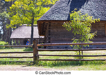 The old wooden house with a thatched roof