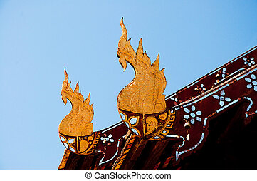 The Old wooden naga on roof