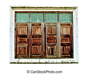 The Old wooden window isolated on white background