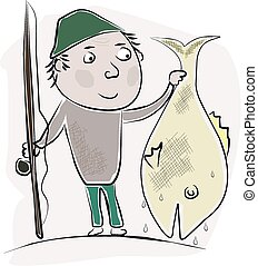 The one that didn't get away. - Cartoon image of an angler...