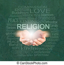 The only true religion is KINDNESS - female cupped hands...