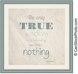 The Only True Wisdom is in Knowing you Know Nothing -...