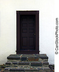 Color - Historic Building Door & Steps - Washington's Crossing State Park - Historic Building From That Time Era