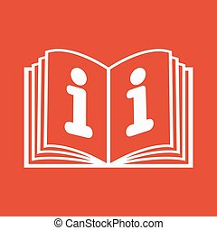 The open book icon. Manual and tutorial, instruction, encyclopedia symbol. Flat