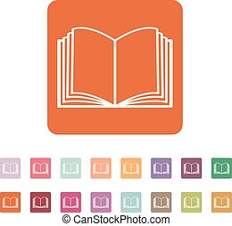 The open book icon. Manual and tutorial, instruction symbol. Flat Vector illustration. Button Set