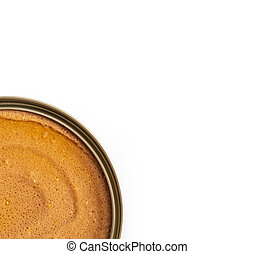 open canned food with pet food on a white background. Selective focus