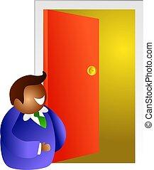 the open door - man standing at an open door. Does he go...