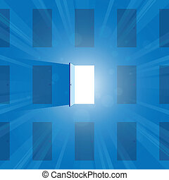 The Open Door - Vector illustration of one open door full of...