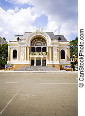 The opera house of Saigon Vietnam with space on street