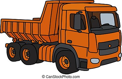 The orange dumper truck