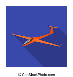 The orange fighter. High speed airplane for one person. Transport single icon in flat style bitmap symbol stock illustration.