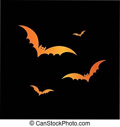 Orange glitter Halloween design element bat
