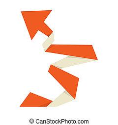 The orange origami arrow