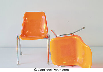 The orange  two chair