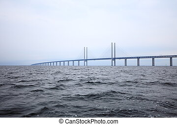 The Oresund bridge between Denmark and Sweden