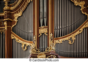 The organ in St. Michaelis church in Hamburg, Germany.