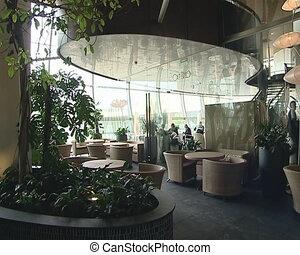 The original restaurant, modernist interior. A cozy romantic...