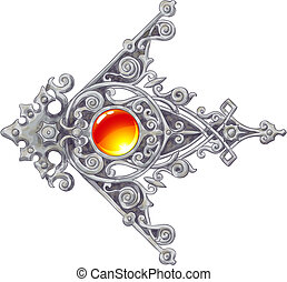 The ornated, silver vintage corner with a cabochon. Imitation of water color drawing. Vector illustration.