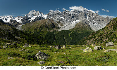 The Ortler Alps near Sulden on a sunny day in summer - The ...