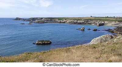 The Ouessant island coastline view during summer, France