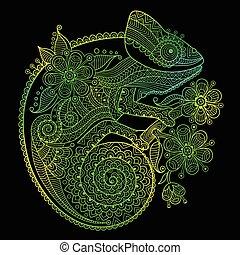 the, outline, 矢量, 插圖, ......的, a, 綠色, 變色龍, 上, 黑色的背景