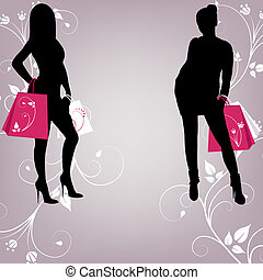 The outline of two fashionable girls with shopping