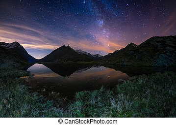 The outstanding beauty of the Milky Way arc and the starry...