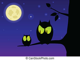 The owl and owlet against the starry sky