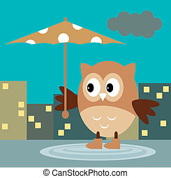 The Owl From The Rain Under An Umbr