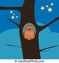 The owl sits in the hollow of a tree on a dark night